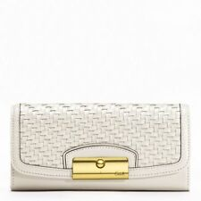 Coach F49100 Kristin Woven Leather Slim Envelope Wallet (White)