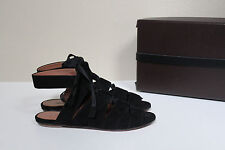 New  7 / 37 Azzedine Alaia Black Suede Gladiator Lace up Ankle Sandal Flat Shoes