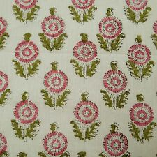 White Indian Floral Hand Block Print Cotton Fabric Dressmaking Sewing By 1 Yard