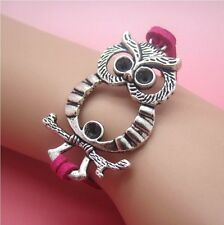 NEW Hot Owl Anchor Leather Cute Charm Bracelet plated Silver DIY SL74D