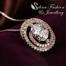 18K Rose Gold Plated Simulated Diamonds Studded Oval Cut Halo Necklace Jewellery