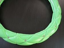 38cm Luxury Crystal Leather Car Steering Wheel Cover Green with Crown Badge