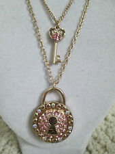 NWT Auth Betsey Johnson Rhinestone Lock Key Charm 2 Row Chain Pendant Necklace