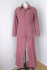 Vtg 70s Purple Cotton Disco Pimp Superfly 2-Pc Leisure Suit BIG Flare Pants 42