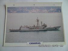 CARTE FICHE NAVIRES DE GUERRE CANARIAS 1993 FREGATE LANCE MISSILES