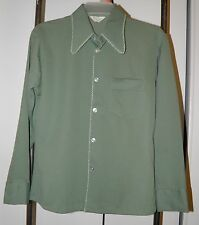 Vintage 70's Disco Shirt Men's S M MARCEL Green Stretch Polyester Long Collar