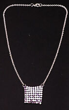 SASSY SILVER TONE NECKLACE SPARKLY MAUVE 'HAUBERK' DETAIL UK SELLER (ZX24)