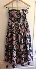 VINTAGE LAURA ASHLEY 70's TEA DRESS FLORAL ROCKABILLY SWING PROM Size 8-10 Navy