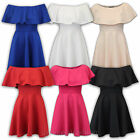 Ladies Off The Shoulder Swing Dress Womens Short Mini Frill Top Flared Summer