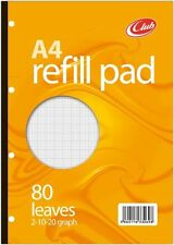 80 Sheet A4 Refill Pad  School Office Punched GRAPH PAPER 2mm 10mm 20mm Notepad