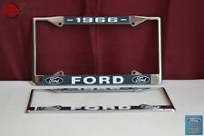 1966 Ford Car Pick Up Truck Front Rear License Plate Holder Chrome Frames New