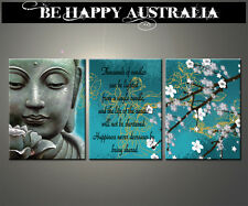 BUDDHA WITH QUOTE ON STRETCHED CANVAS SET OF 3 EACH SIZE 30cm x 40cm x 2cm