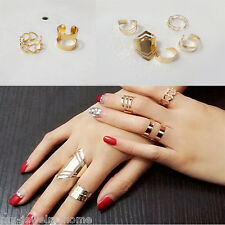 5Pcs/1Set Womens New Fashion JewelryCool Punk Unique gold Plated Rings Charm