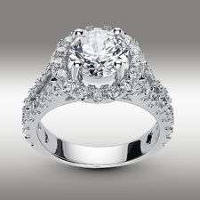 3.22 Ct Brilliant Cut Split Shank Lab Engagement Ring in Solid 14K White Gold
