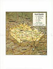 MAP PHYSICAL CIA 1994 CZECH REPUBLIC HISTORIC LARGE REPLICA POSTER PRINT PAM1408