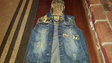 Smoke Rise Distressed Denim and Camo Vest with removable hood sz L