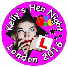 25 x HEN NIGHT PERSONALISED - BIG BADGES WITH PHOTO & NAME - ANY DESIGN - NEW