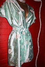 VTG Sexy Ann Summers Short Glossy Shimmery Poly Satin Dressing Gown Robe Sz16/18