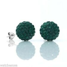 Sterling Silver Sparkling Crystal 12mm Green Round Ball Stud Earrings
