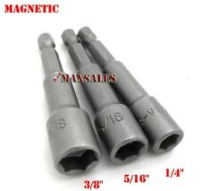 "3pc Nut Setter Magnetic Nut Driver Bit Set Universal 1/4"" Hex Shank Power S"
