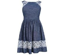 Bonnie Jean Girls Navy Blue Chambray Knit & Lace Party Pageant Dress 3T New