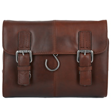 Ashwood Hampstead Authentic Soft Leather Hanging Wash Toiletries Wet bag - Tan