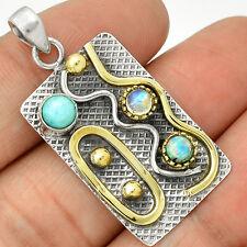 Two Tone - Larimar - Dominican Republic 925 Silver Pendant Jewelry PP3629
