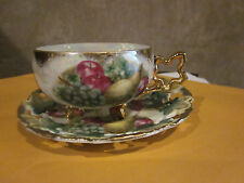 Royal Sealy China 3 Footed Tea Cup & Saucer Gold trimmed Fruit Pear apple Japan