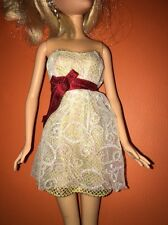 Barbie Gold White Tulle Silky Burgundy Bow Summer Prom Dress Ball Gown Outfit
