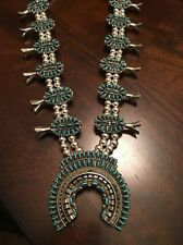 NATIVE AMERICAN TURQUOISE AND SILVER CLUSTER SQUASH  BLOSSOM NECKLACE