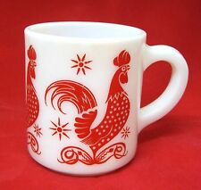 """Vintage Red Rooster Milkglass Coffee Mug 1950s Bright Color 3 1/2"""" Kitchen Glass"""