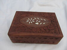 VINTAGE WOOD CARVED HINGED LID  BOX WITH INLAY
