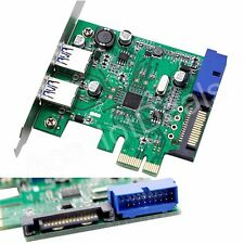 PCI-E Express USB 3.0 2 Port HUB Card Adapter 20 pin Connector 15-pin SATA Power