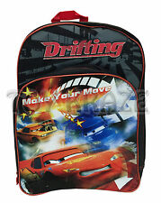 "CARS BACKPACK! BLACK RED DRIFTING MAKE YOUR MOVE LARGE SCHOOL DISNEY 16"" NWT"