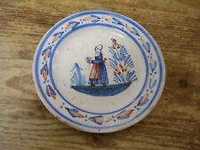 Antique France French HR Quimper Faience Small Plate Plaquette Coin Pin Dish