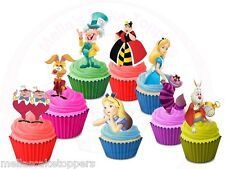 16 x Alice In Wonderland Mix  Stand up  Edible Cupcake Toppers Wafer Card