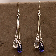 Sterling Silver Earrings Use Swarovski Element Crystal Tear Drop Clear /Purple