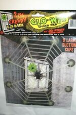 2 Pak Creepy Halloween Glow-In-Dark Spider Web Window Attachments-New in package