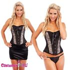 Ladies Moulin Rouge Corset Burlesque Boned Dress Up Showgirl Bustier Full Outfit