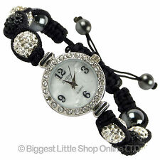 Quality Shamballa WATCH Bracelet Real Czech Crystals Disco Balls WHITE & BLACK