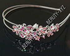 New silver tone high quality baby pink rhinestone crystal flowers headband #28