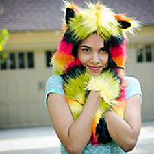 BLACK, YELLOW AND RED FAUX FUR  ANIMAL HAT WITH LONG PAWS