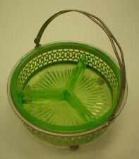 "Vintage Green Vaseline Uranium Glass Divided Relish / Condiment Dish  5.5"" x 5"""
