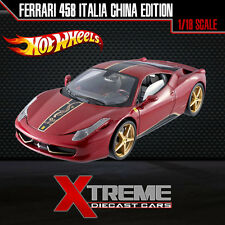 HOTWHEEL ELITE BCK12 1:18 FERRARI 458 ITALIA CHINA EDITION SUPERCAR DIECAST CAR