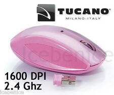 Wireless Usb Mini Óptico Scroll Mouse Rosa Tucano Colore 2.4 Ghz 1600 Dpi Rosa