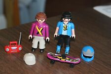 Playmobil Figures Skateboarders Skate Board Men Boy Brown Black Hair Radio Boom