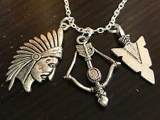 """Indian Chief Bow & Arrowhead Charm Tibetan Silver with 18"""" Necklace A"""