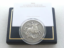 2004 St George and the Dragon Antique Silver 5oz Coin Box Coa