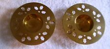 PAIR OF BRASS VOTIVE CANDLE HOLDERS WITH HOLLY DESIGN  NICE SHINE, MADE IN INDIA
