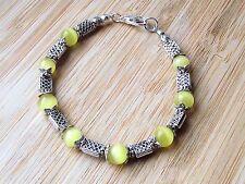 "Mexican Opal - Cat's Eye Semi Precious Gemstones Tibetan Handmade 7.5"" Bracelet"
